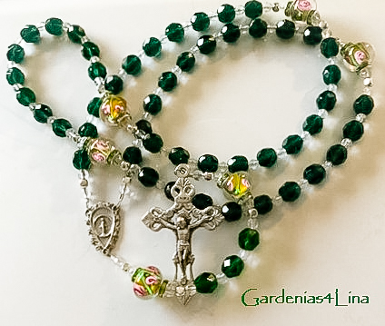 Emerald green glass and lampwork Catholic rosary