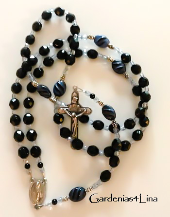 Black glass Catholic rosary