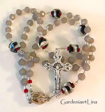 Gray glas and lampwork rosary