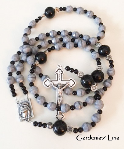 Gray glass Catholic prayer beads