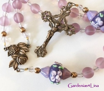 Lavender frosted glass and handmade lampwork limited edition rosary dedicated to Mary's prayer, Memorare