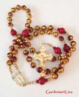Red and gold faux marble and red onyx Catholic rosary