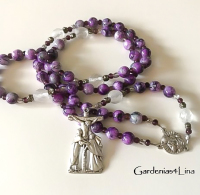 Catholic rosary hand made with faux stone glass beads