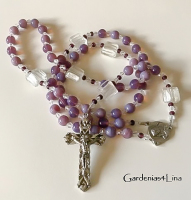 Purple opaque glass hand-made Chttp://editor.homestead.com/#atholic rosary