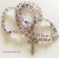Unique two-tone burgundy and clear Czech glass hand strung rosary
