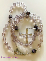 Lavender Czech Glass & Purple Cats' Eye Hand-made Catholic Rosary