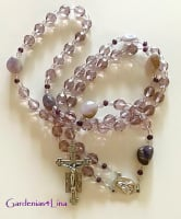 Hand crafted soft Purple Czech glass & Amethyst Nugget  Rosary
