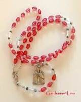 Rose teardrop hand crafted Catholic rosary www.Gardenias4lina Clearance