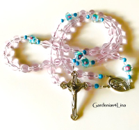 Hand crafted pink Catholic rosary