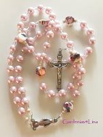Soft pink glass pearl and hand-made lamp-work Catholic rosary ~ Clearance
