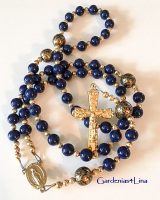 Medium blue hand crafted Catholic rosary