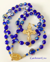 Cobalt blue AB Czech glass and gold rosary
