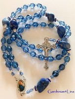 Blue Czech glass and Lapis nuggets Catholic rosary Clearance  wwwGardenias4Lina.com
