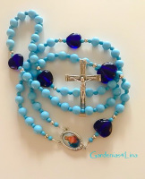 Ocean blue glass & cobalt blue hearts Catholic rosary Clearance