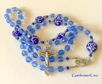 Medium blue glass & crystal hand crafted Catholic rosary with lampwork