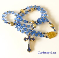Blue and gold Rosary with blue and gold enamel crucifix