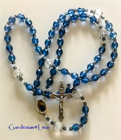 Deep blue Czech glass with frosted glass and Madonna Della Strada pictorial center Catholic Rosary