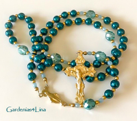 Turquoise blue glass pearl and golden fixtures Catholic rosary