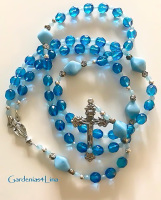 Capri blue glass Catholic prayer beads