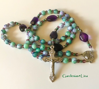 Catholic rosary...faux marble and amethyst nuggets and Pardon crucifix