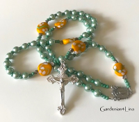 Light green glass pearl with unique lampwork Catholic prayer beads
